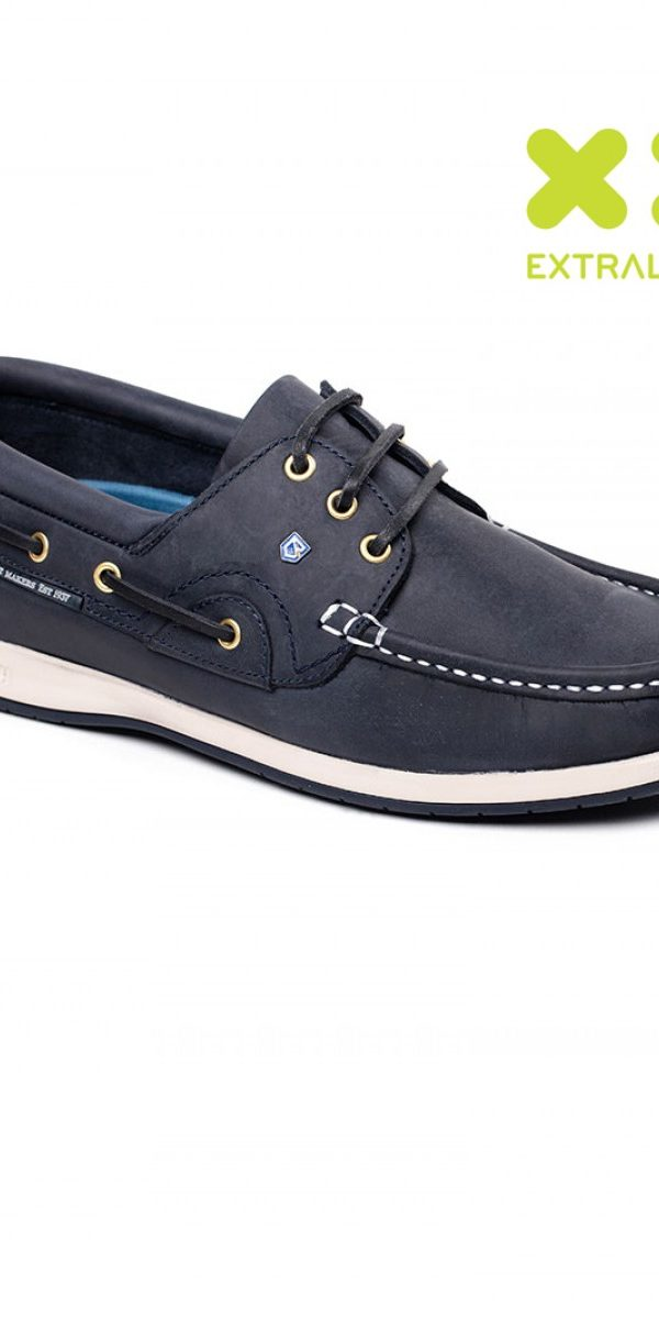 Mens navy leather boat shoes.