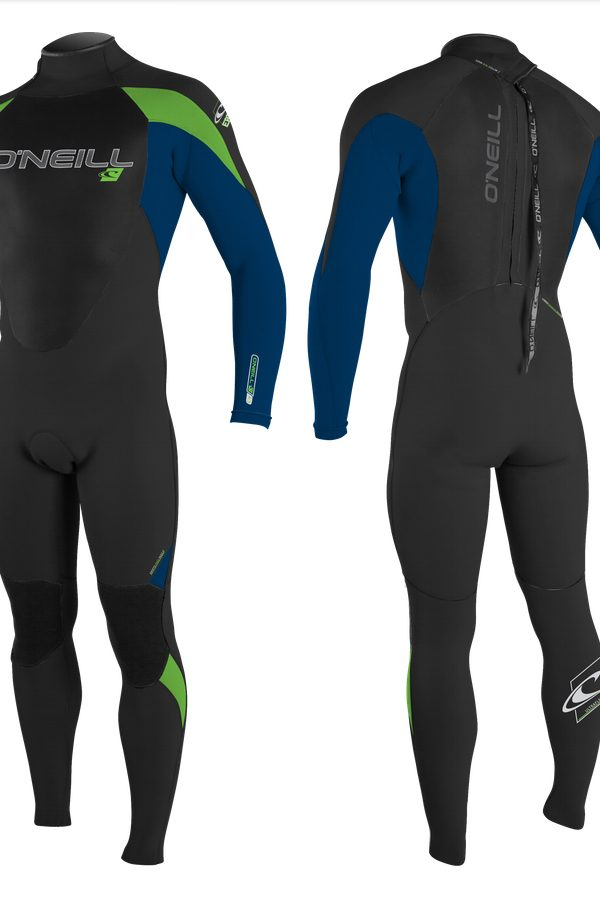 O'Neill Epic 5/4 Wetsuit - Men's Black / Deep Sea - Front & Back