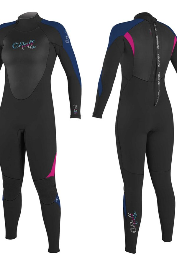 O'Neill Epic 5/4 Wetsuit - Women's Black / Navy / Berry- Front & Back