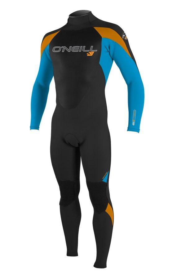 Orange, black & blue warm winter wetsuit for kids.